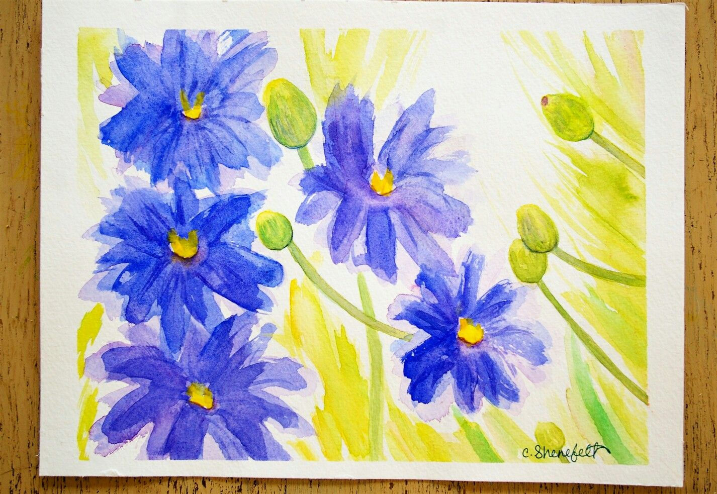 Spring Flowers Painted In Watercolor One Of My Latest Paintings Measures 8x10 Inches