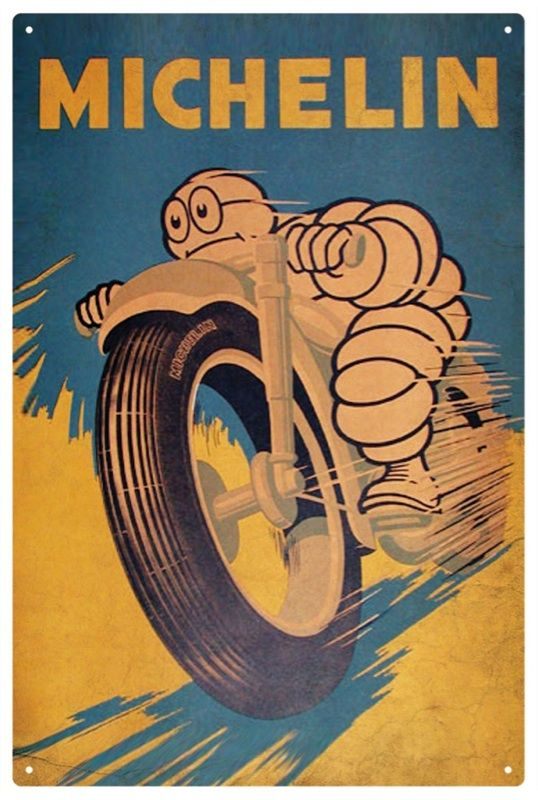 MICHELIN MAN MOTOR BIKE VINTAGE  TIN SIGN 20 X 30 cm