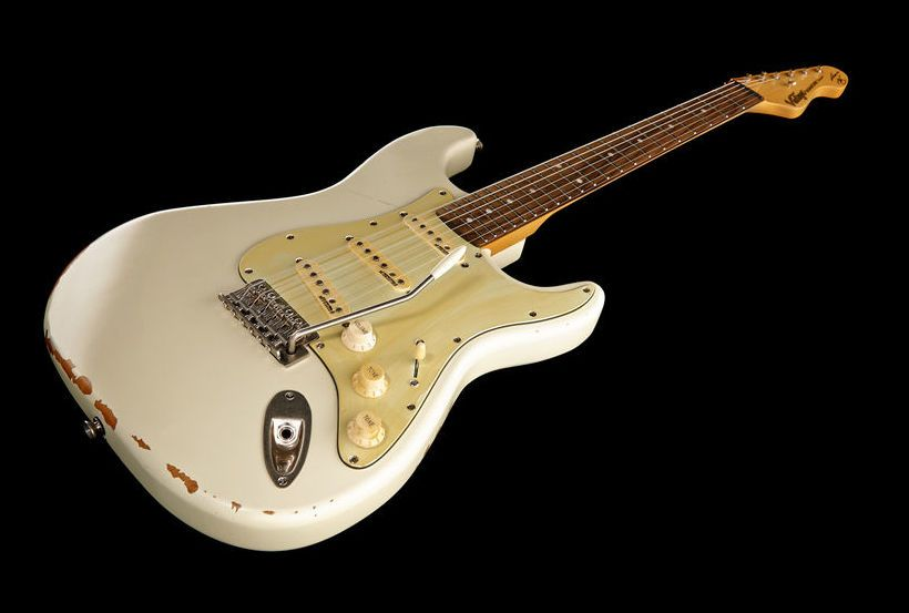 Vintage Icon V6mrtbg Thomann Www Thomann De Colour Distressed Vintage White Guitar Beautiful Aged Vintage Strat Guitar Guitar Electric Guitar