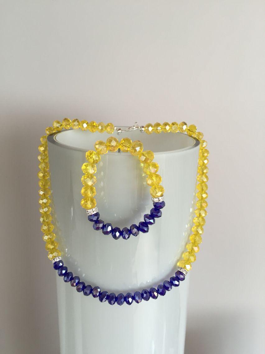 6065843fbf74 Collar y pulsera en cristal amarillo y azul