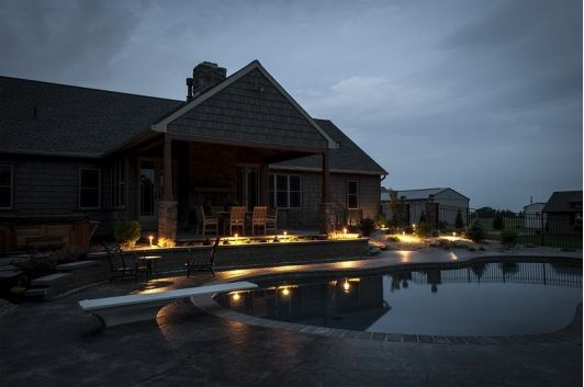 Pool Lighting In Lancaster Parade Of Homes By Merv Miller Builders And Integrity Pools Home And Garden Design Id Parade Of Homes Home And Garden Pool Designs