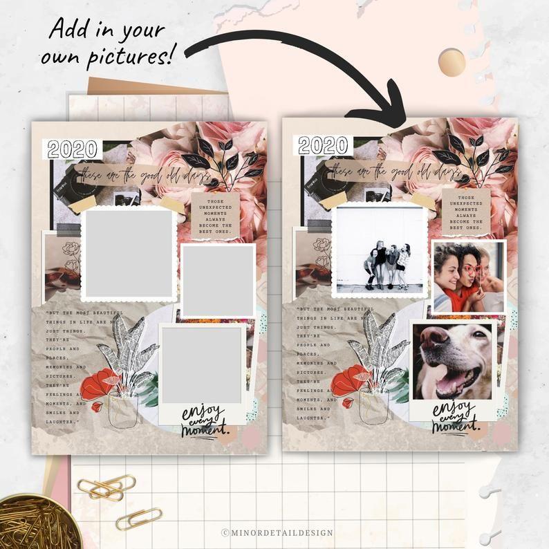 8.5x11 Digital Scrapbook Template, Plain Scrapbook ...