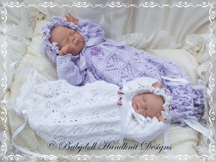 Knitting Clothes For Premature Babies : Lacy bunting bonnet inch doll preemie baby
