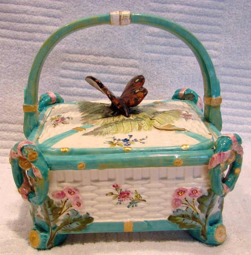 English Majolica Footed Covered Sewing Basket Box Butterfly Finial, c 1850.