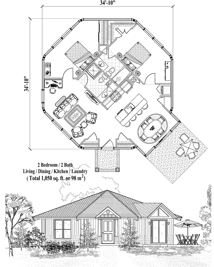 Topsider Homes 1 Bedroom House Plans Octagon House Two Bedroom Tiny House