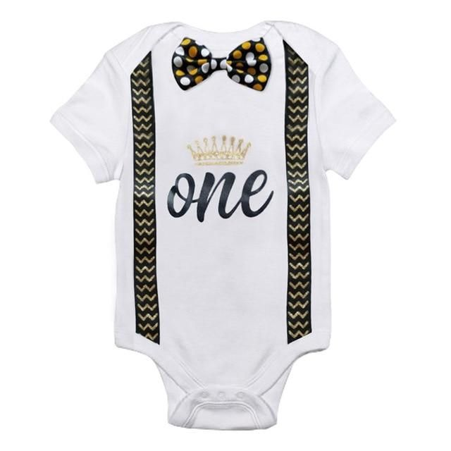 New Baby Boy My First 1st Birthday Party Gentleman Bow Romper Jumpsuit Outfits