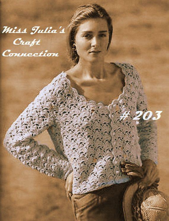 Vintage Lace Scallop Cardigan Sweater 203 PDF Digital Crochet ...
