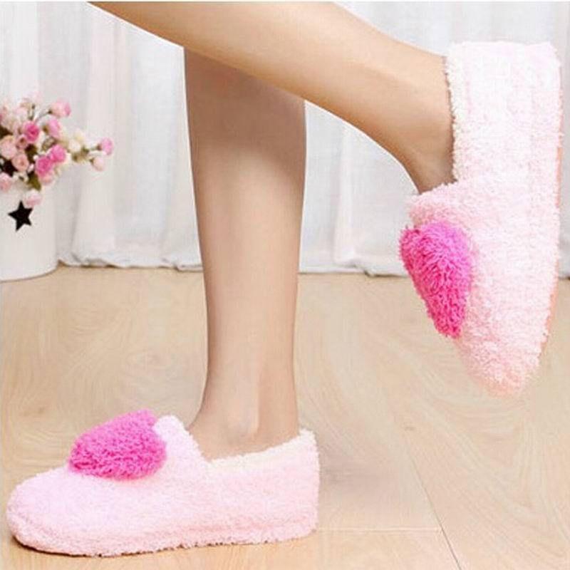 Retail! Mooie dames huisvloer zachte vrouwen indoor slippers zool katoen gevoerde schoenen vrouwelijke kasjmier warm casual schoenen