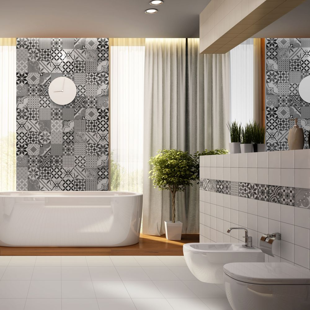 The siurana ceramic wall tile is a 30cm x 60cm tile which combines 8 the siurana ceramic wall tile is a x tile which combines 8 geometric patterned squares into one tile there are 4 combinations of the squares available dailygadgetfo Image collections