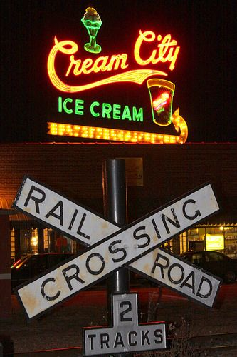 Railroad Crossing at the Cream City district (Night