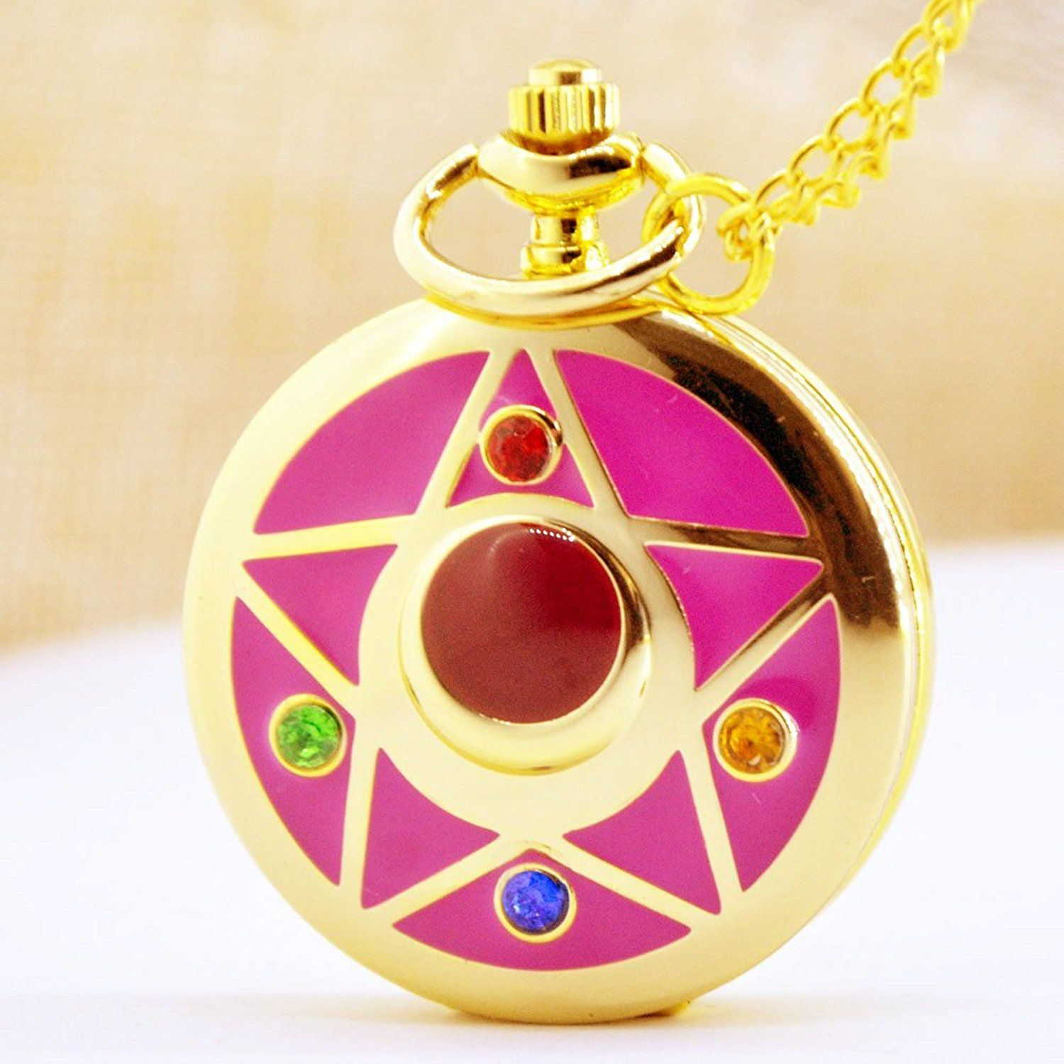 Amazon.com: Golden Fashion Anime Cosplay Sailor Moon Pocket watch with Chain Necklace Pendant Womens Girls: Watches