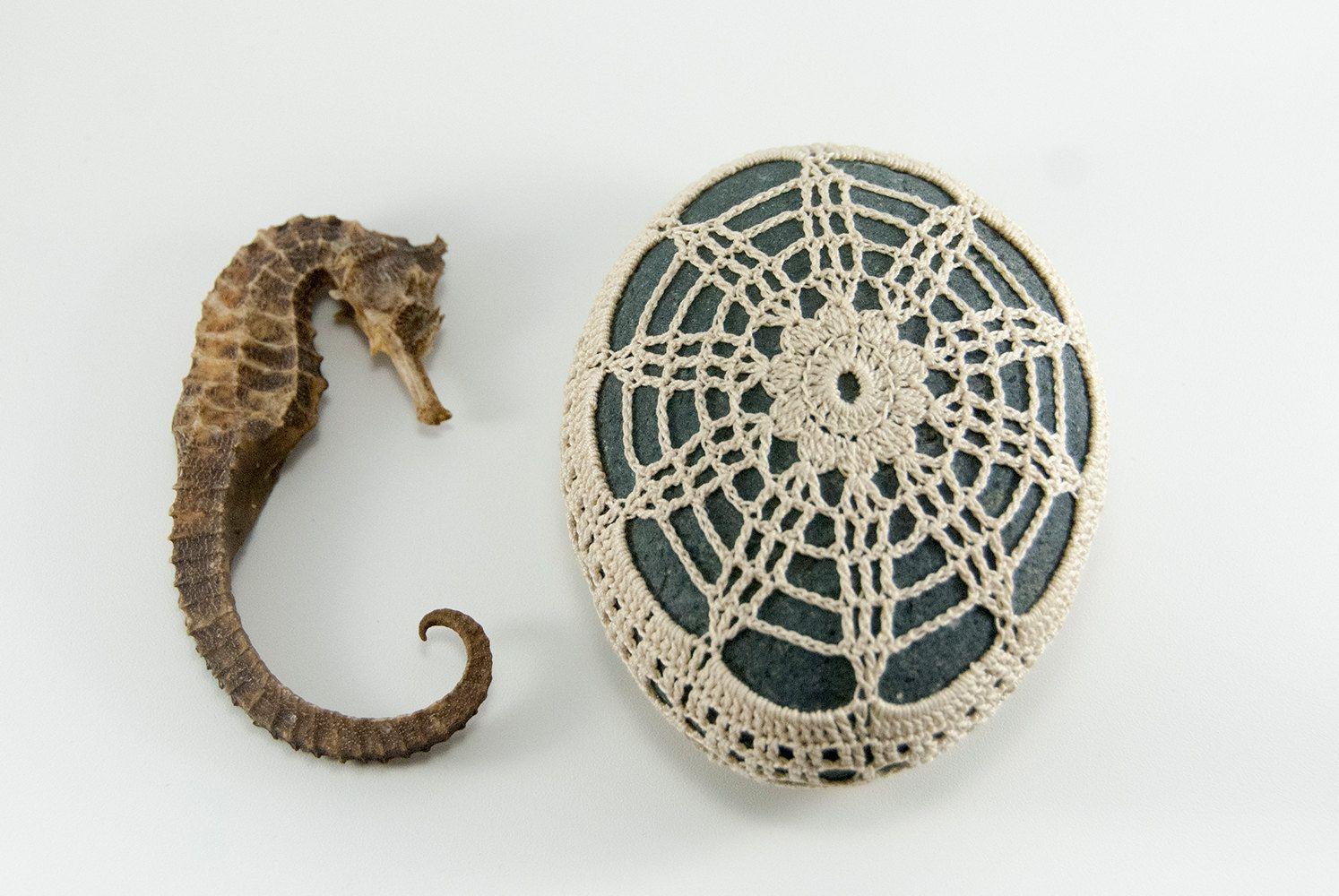 crochet lace stone beach wedding river rock sea by TableTopJewels