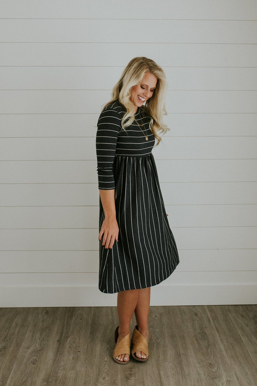 Sawyer stripe mom dress in charcoal maternity clothing pinterest