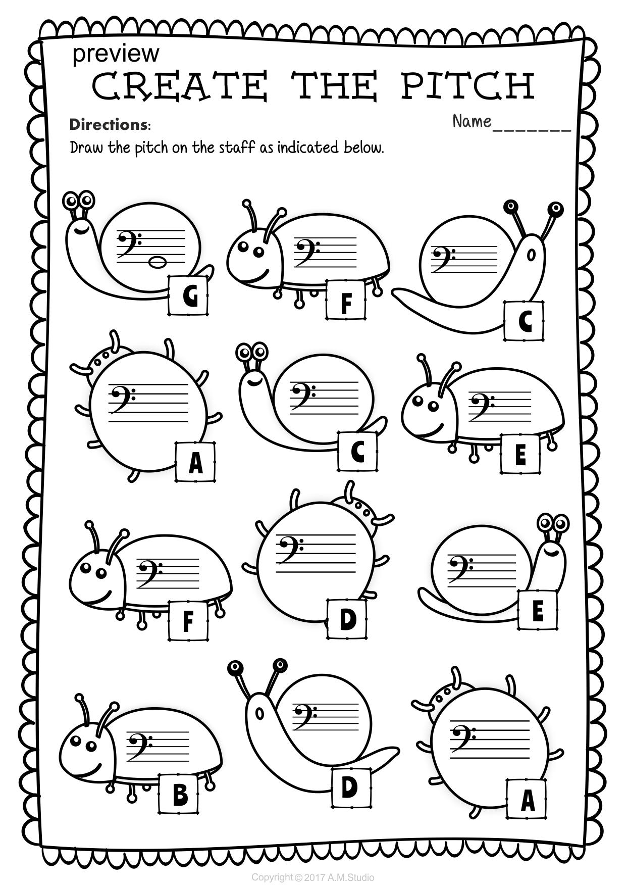 Worksheets Bass Clef Worksheets bass clef note naming worksheets for spring music anastasiya multimedia studio