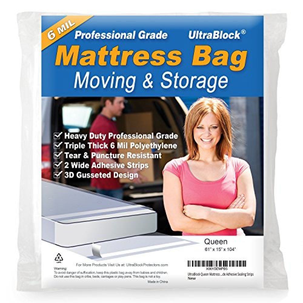 Ultrablock Mattress Storage Bag For Moving Disposal Heavy Duty Plastic Cover Protector Waterproof Punc In 2020 Moving And Storage Mattress Storage Cal King Size