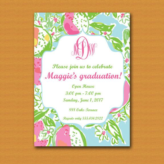 lilly pulitzer inspired invitation graduation invite birthday