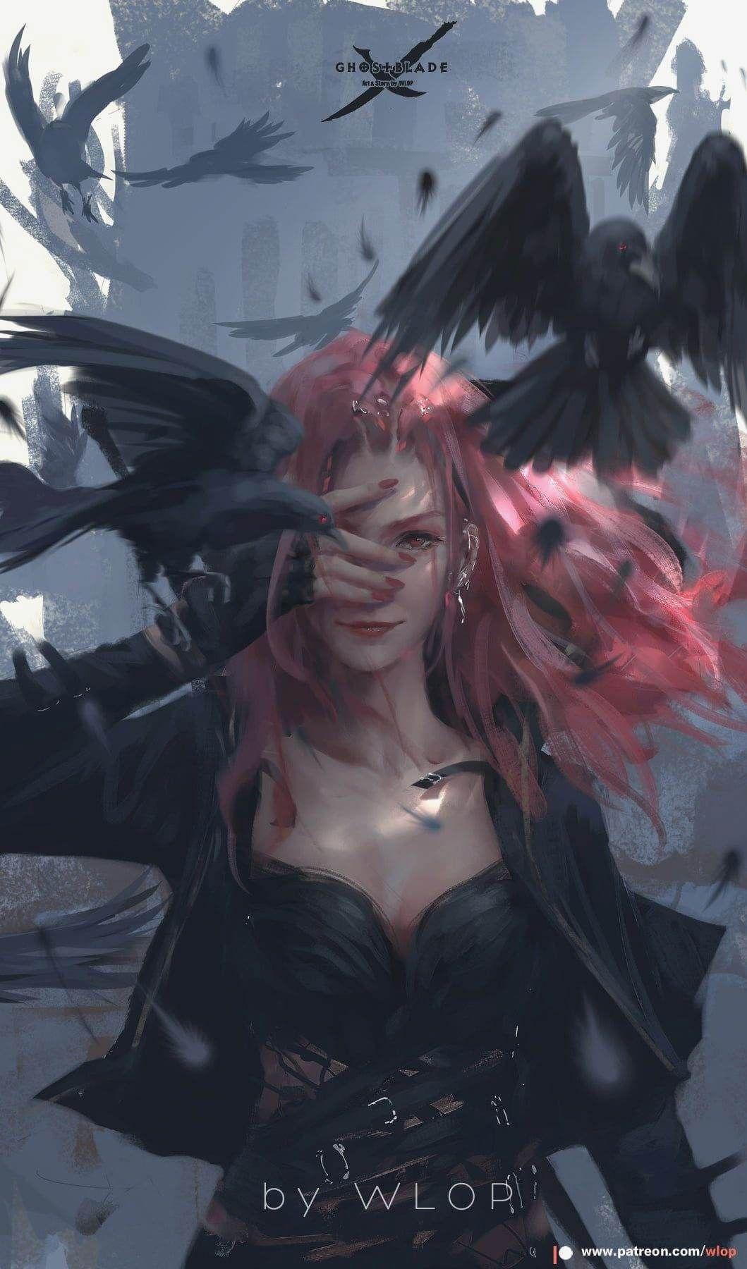 Ghost Blade WLOP anime girls birds anime redhead