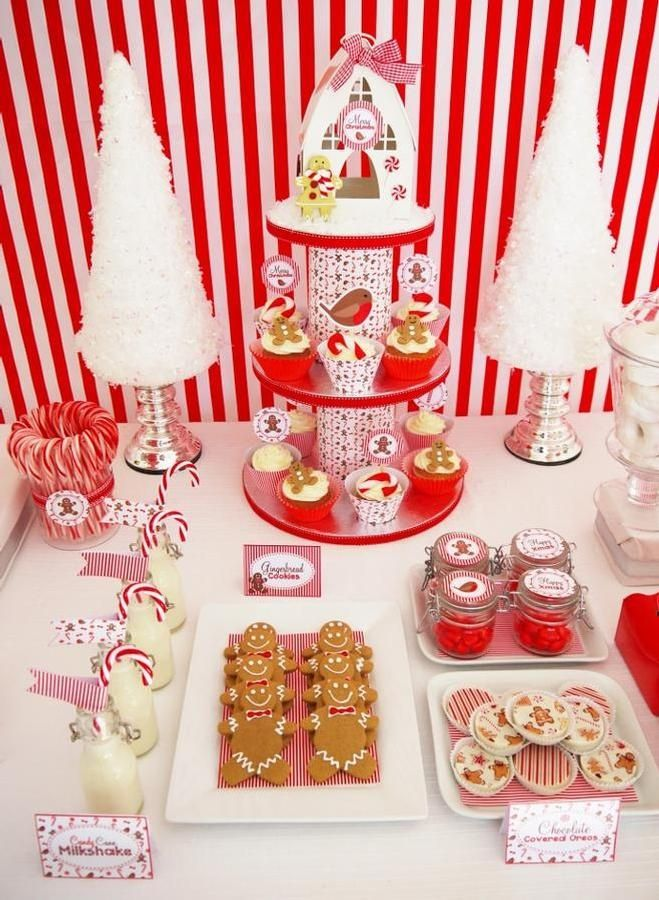 Delightful Creative Christmas Party Ideas Part - 2: Gingerbread Man Candy Bar #littlepartylove #gingerbread #partyideas  #decorations #christmas