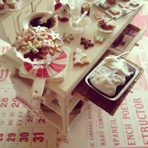Mini baking table with Christmas cookies