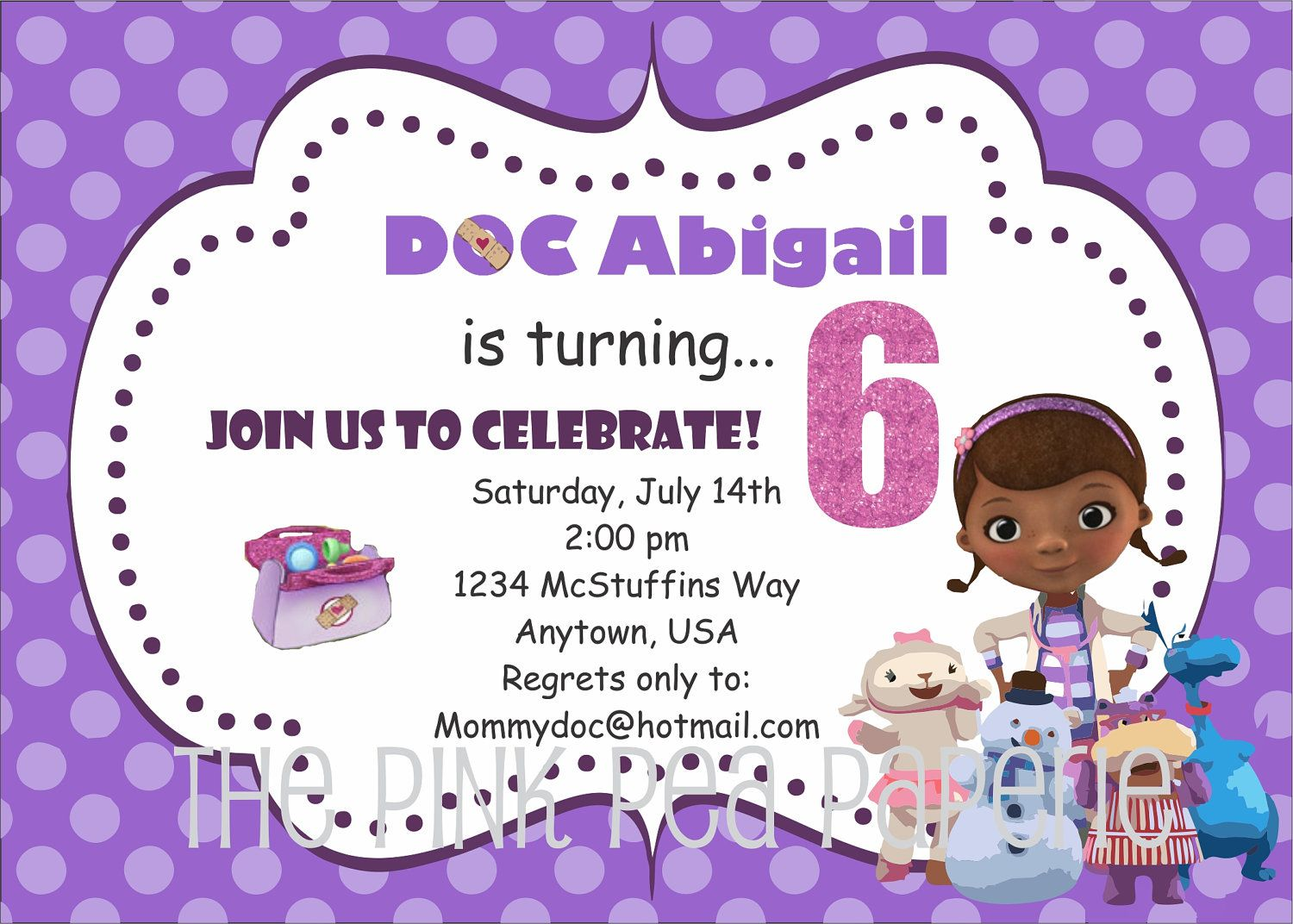 Custom Printable DOC MCSTUFFINS 5 x 7 Birthday Invitation. | Doc ...