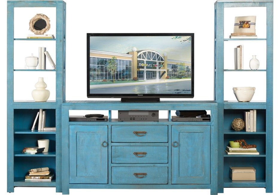 South Creek Blue 3 Pc Wall Unit Living Room Wall Units Wall Unit Rooms To Go