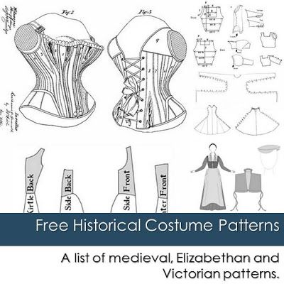 free historical costume patterns  corsets bustle