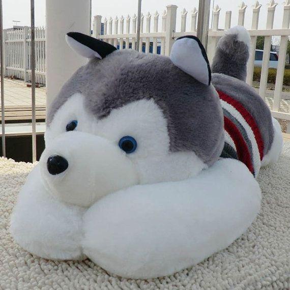 Husky Siberian Puppy Plush Stuffed Dog Doll Cute M by PlushFriend, $24.99