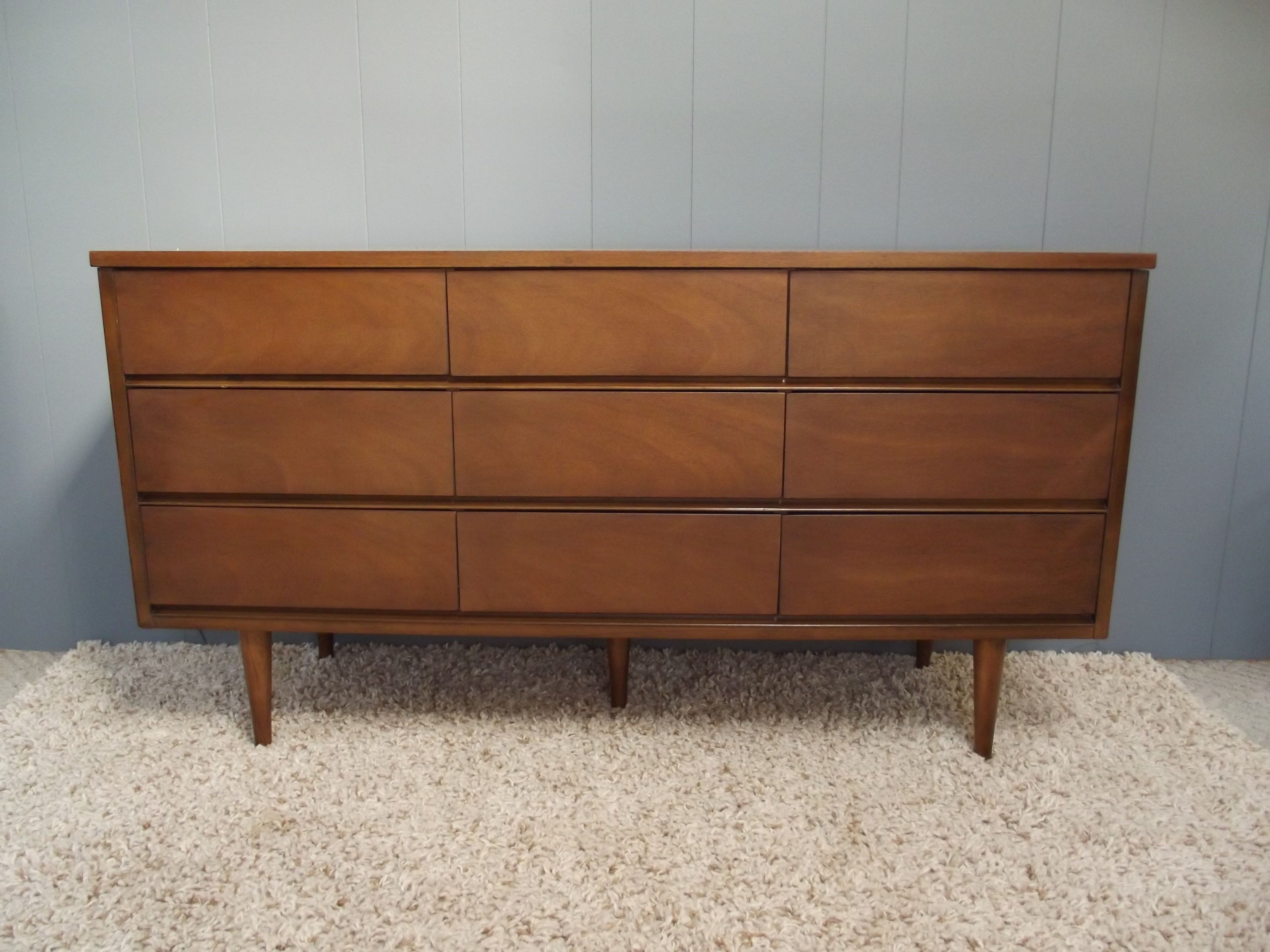 MID CENTURY DANISH MODERN Triple 9 Drawer Dresser