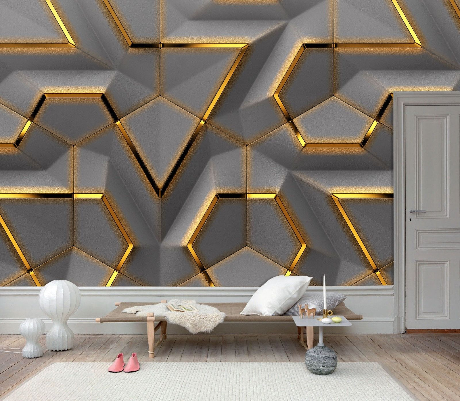 3d Solid Gold Geometric Abstract Gray Triangle Background Grey Etsy In 2020 Family Room Walls Wallpaper Living Room Millwork Wall