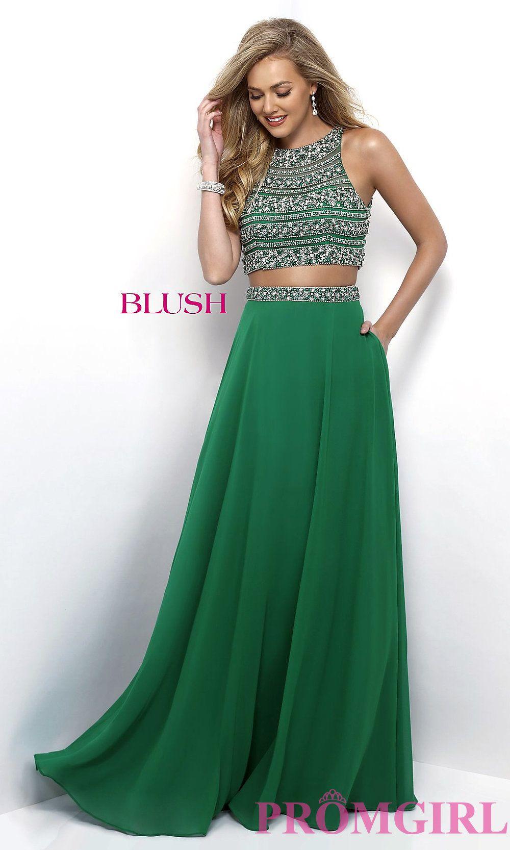 Chiffon two piece long blush prom dress