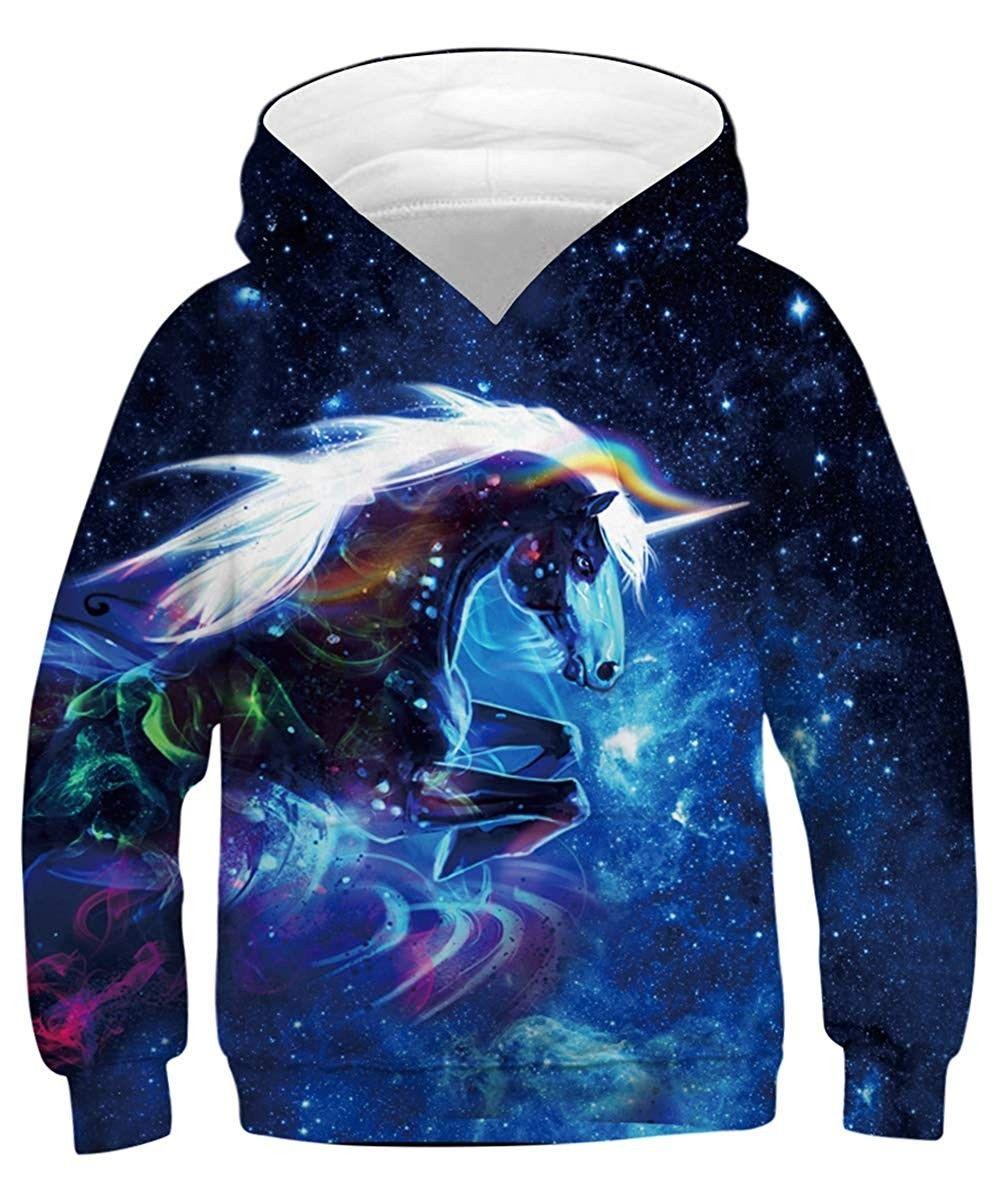 Womens Girls Cat Unicorn Pullover Hoodie Sea Turtle American Flag Crop Top Sweatshirts