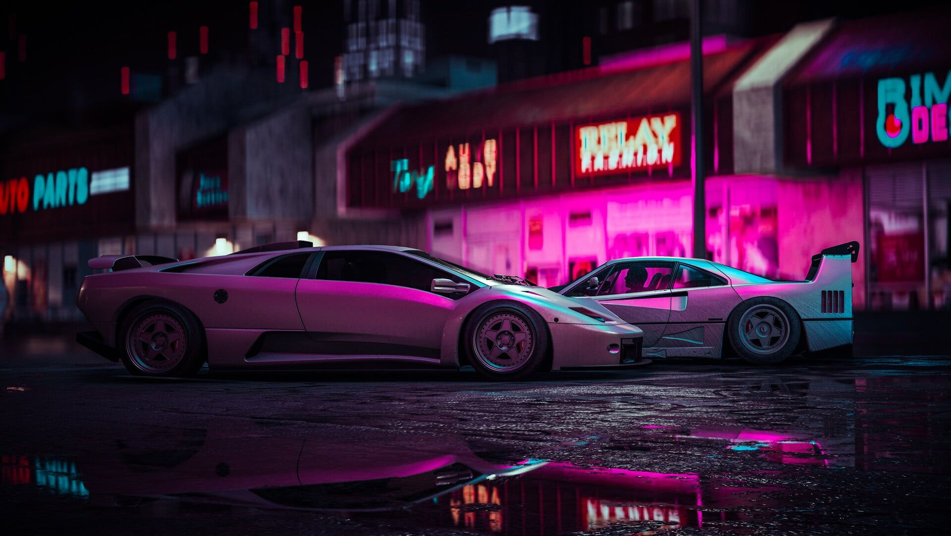 Artwork Digital Art Car Vehicle Lamborghini Ferrari 1080p Wallpaper Hdwallpaper Desktop Car Bmw Wallpapers Neon Wallpaper