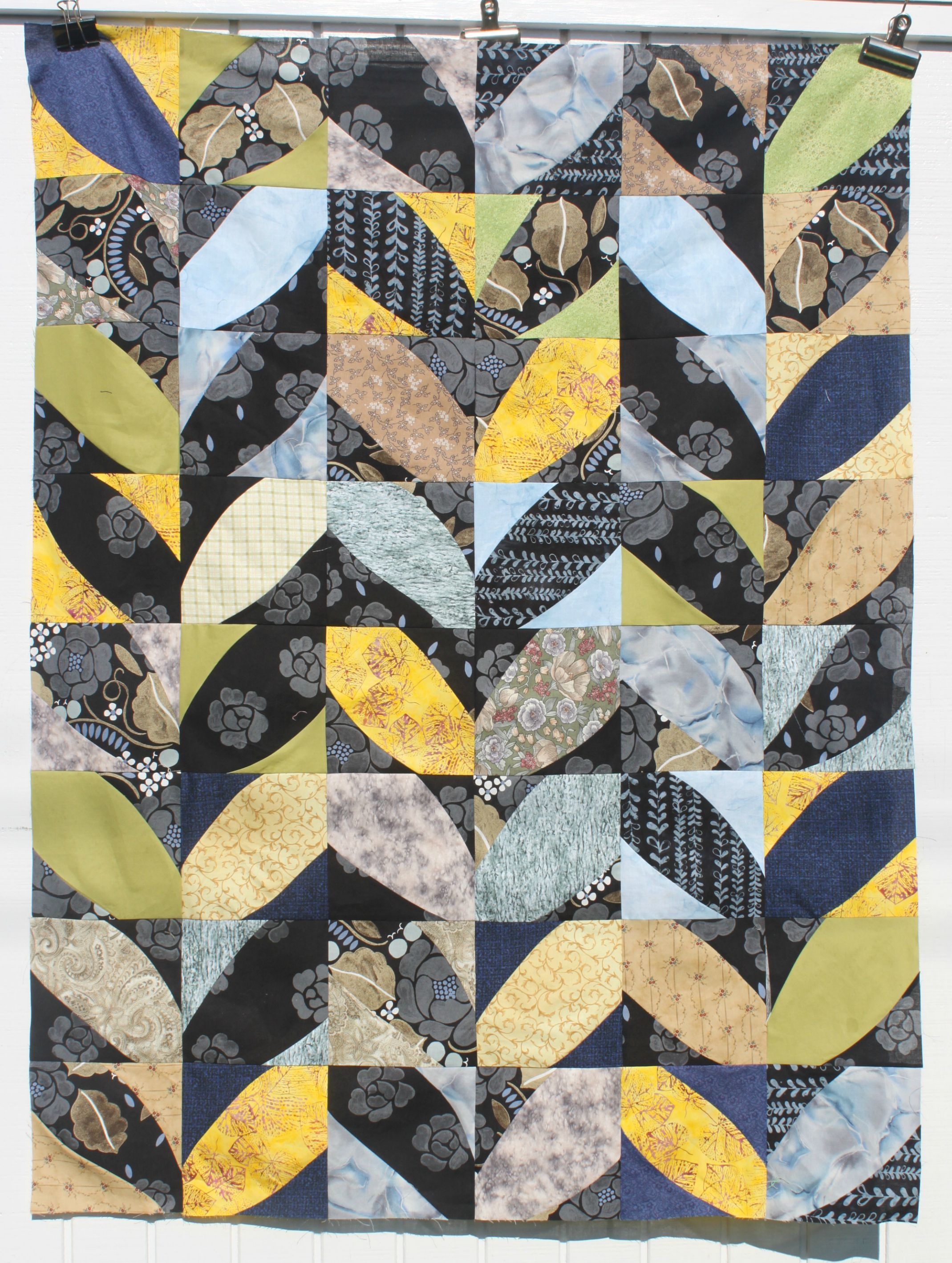 Quilt based on Winter from Cultural Fusion book, Sujata Shah, Marimekko fabric as inspiration start