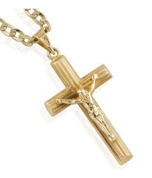 e1b9dfb4857a Cadena con Cruz con cristo de Oro para Primera Comunión para niño o ...