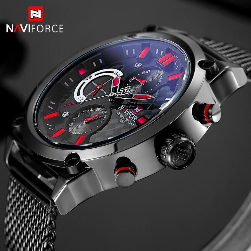 e24336d0518 Barato Naviforce marca preto moda malha de aço mens quartz watch 24 horas data  relógio masculino esporte militar relógios de pulso relogio masculino