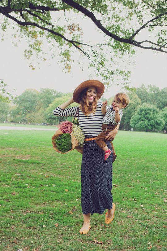 chapeau jupe longue marinière