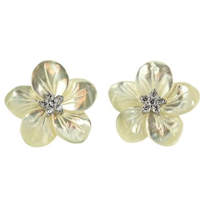 Sterling Silver Mother-of-Pearl Cubic Ziconia Flower Post Earrings - Fire & Ice