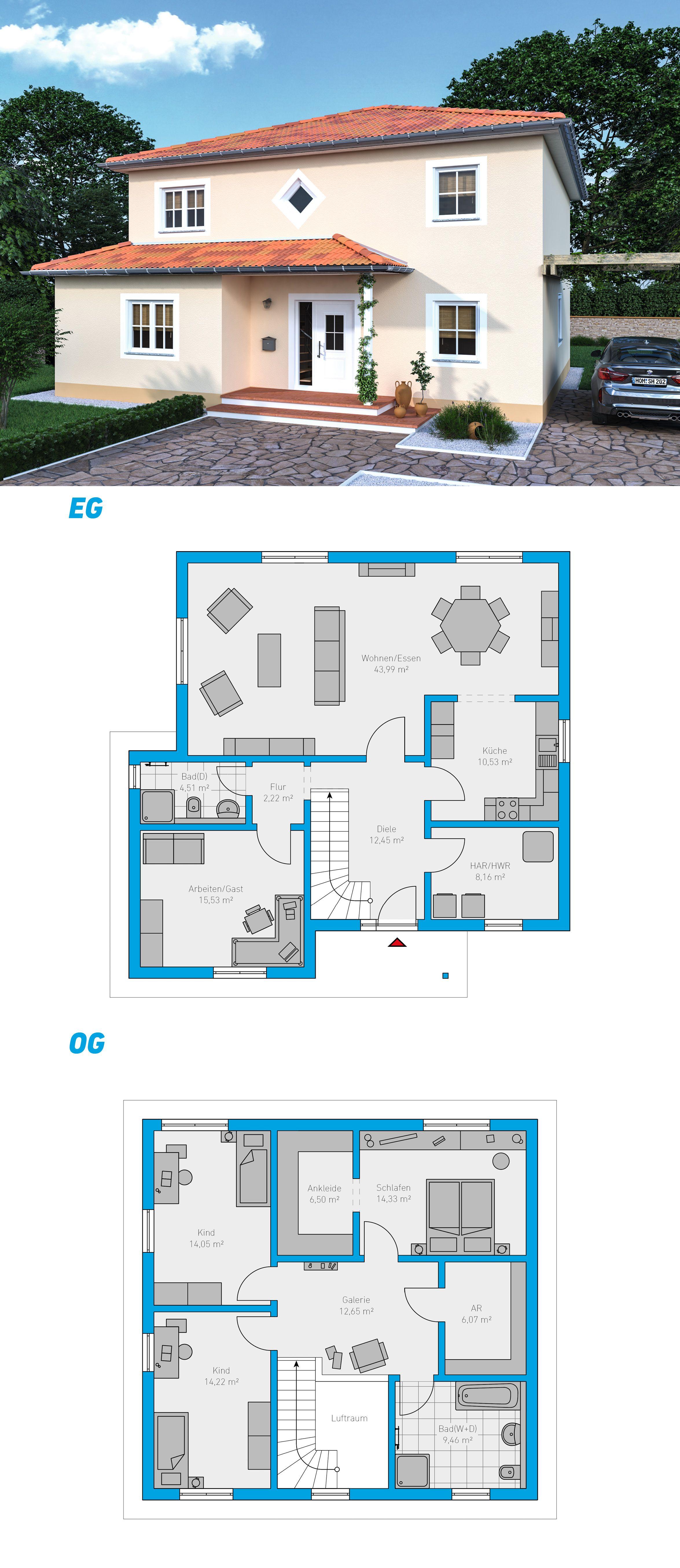 Edita 175 schl sselfertiges massivhaus 2 geschossig for Piante case moderne