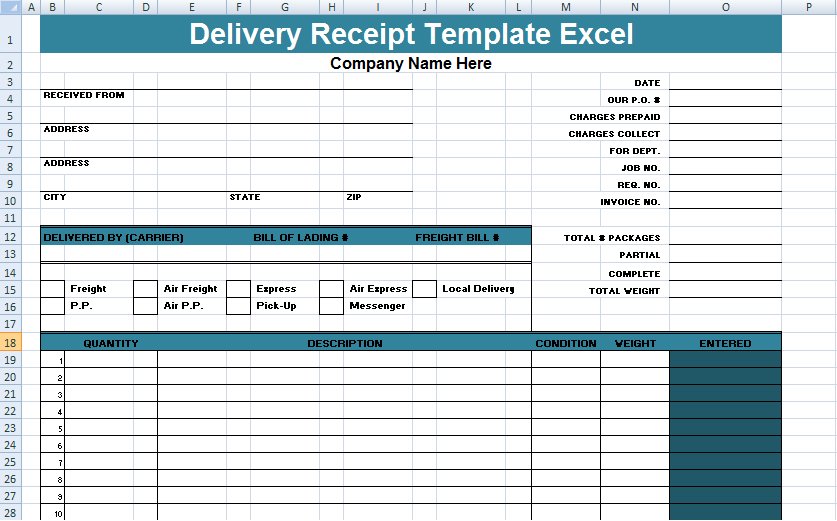 Get Delivery Receipt Template Excel Xls Project Management