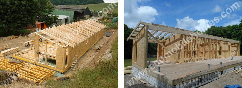 mobile home timber frame kit being assembled onsite - Mobile Home Frame