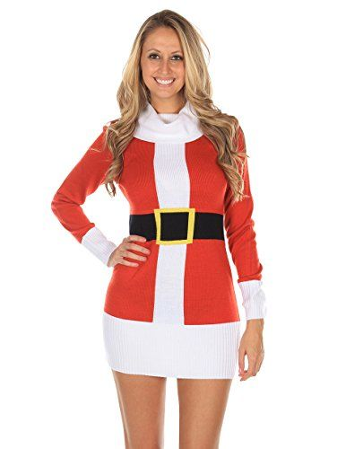 2fda4ab547 Women s Ugly Christmas Sweater - Santa Claus Sweater Dress Red Size XS  Tipsy Elves http