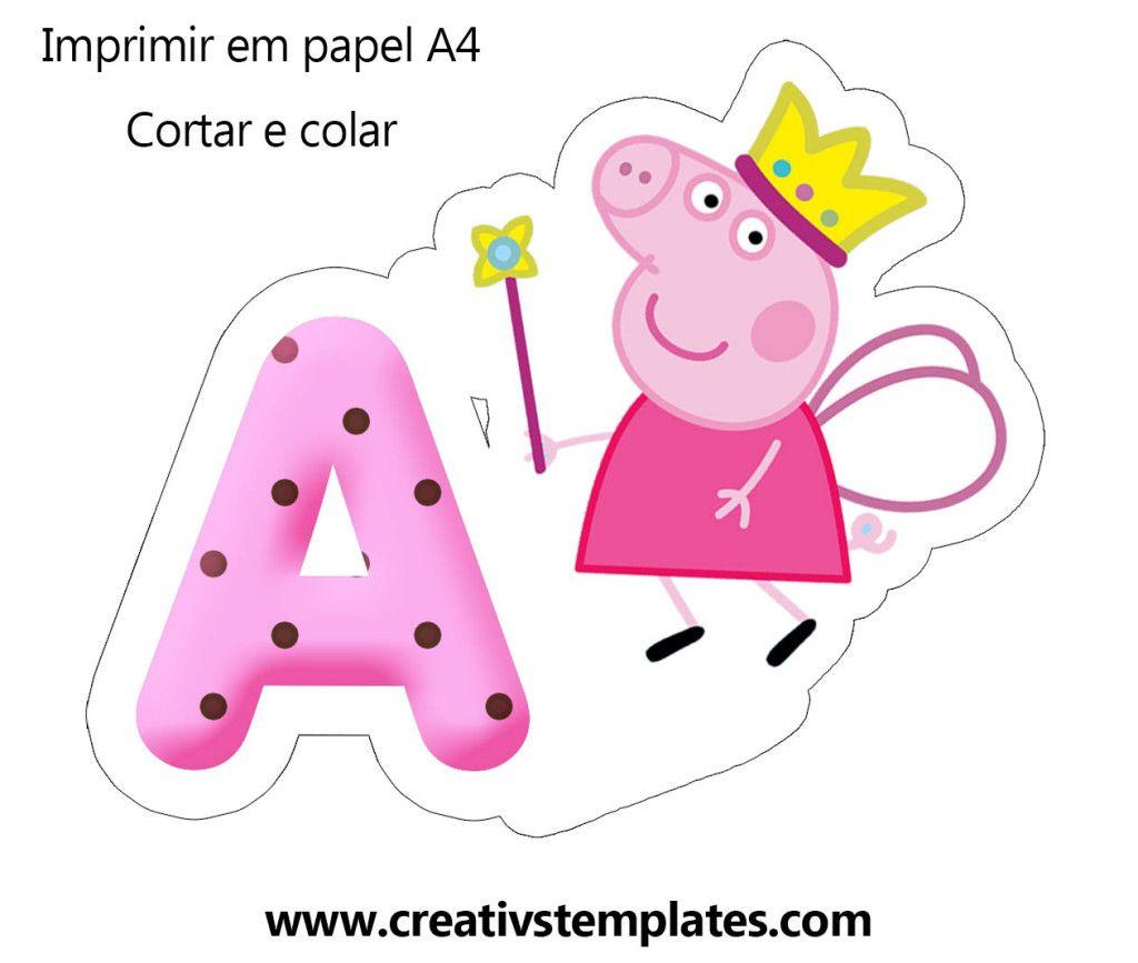 centro de mesa Peppa Pig letra A