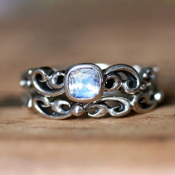 moonstone engagement ring set rainbow moonstone ring antique look wedding set bezel engagement - Moonstone Wedding Rings