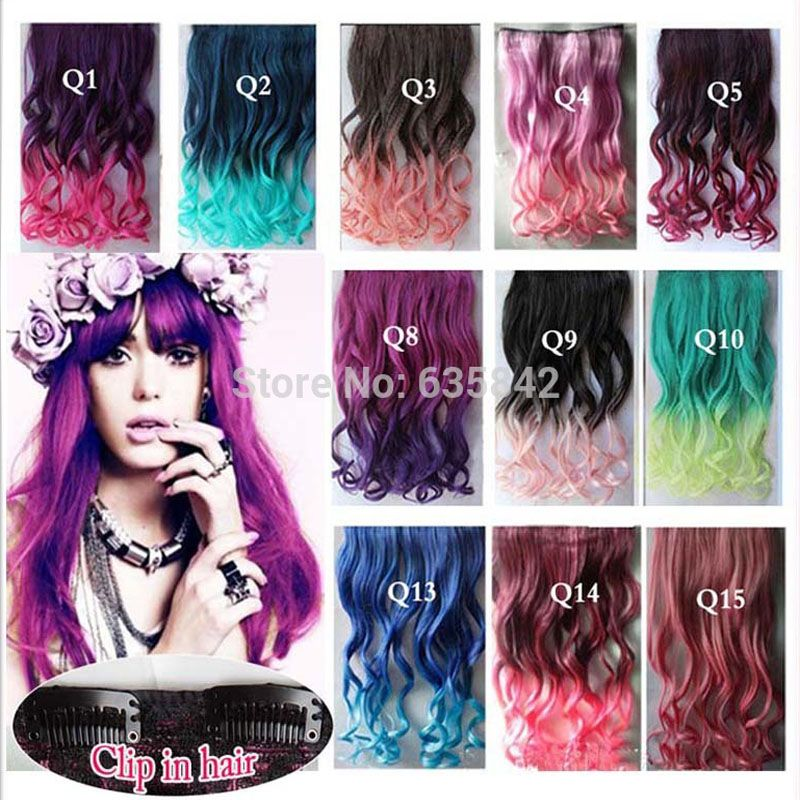 Synthetic Hair Clip In Hair Extensions Curly Wavy 24\