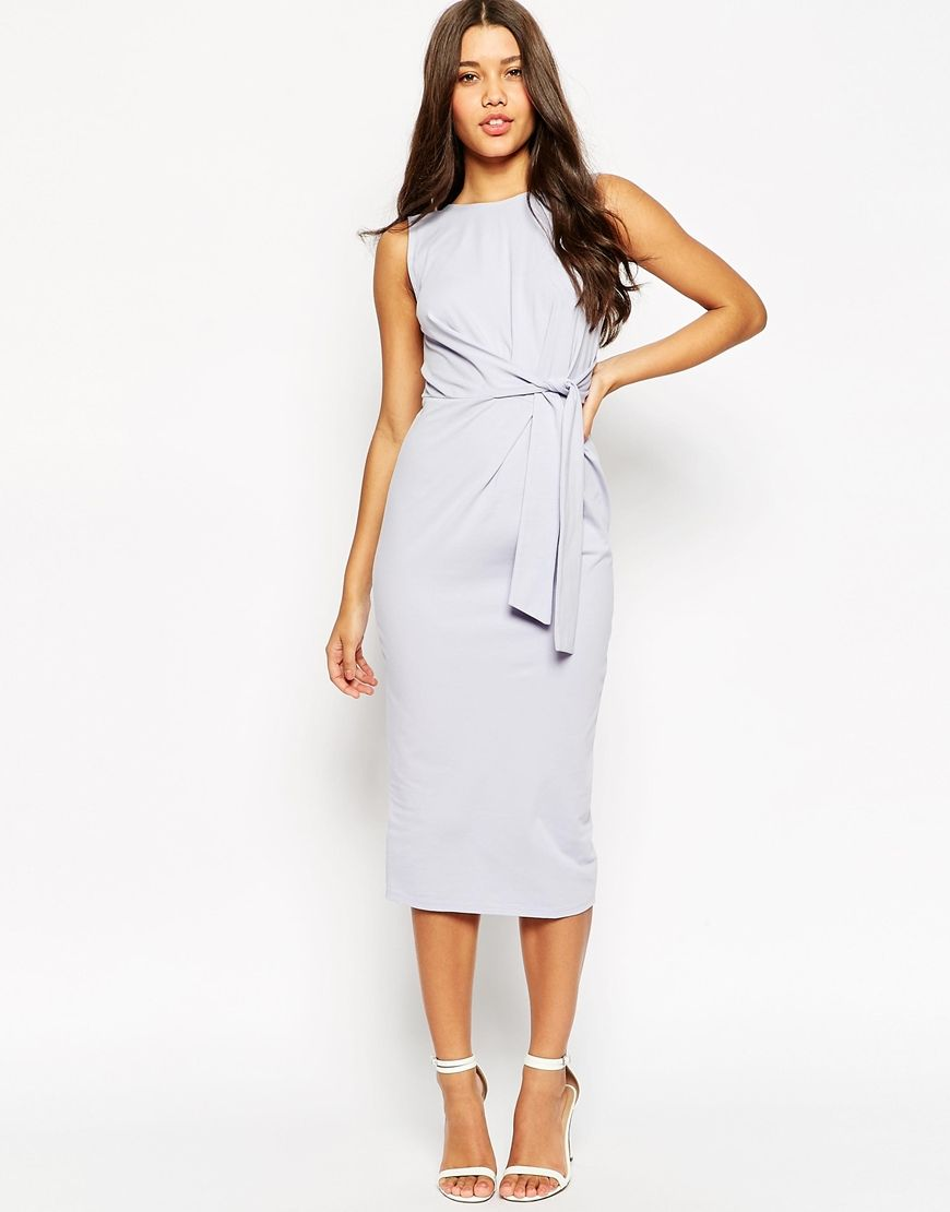 Asos wedding guest dress midi  Image  of ASOS Tie Side Midi Bodycon Dress  Wish List  Pinterest