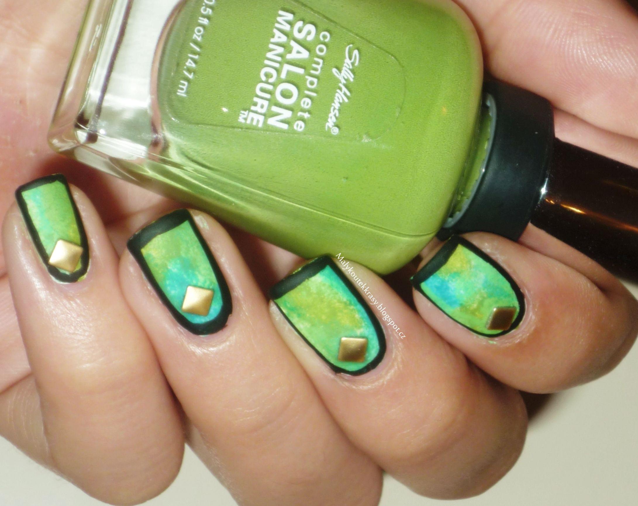Zelená kombinace v matu s orámováním   Nail art   Pinterest