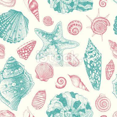 Vector seamless vintage pattern with seashells Royalty Free Stock Vector Art Illustration