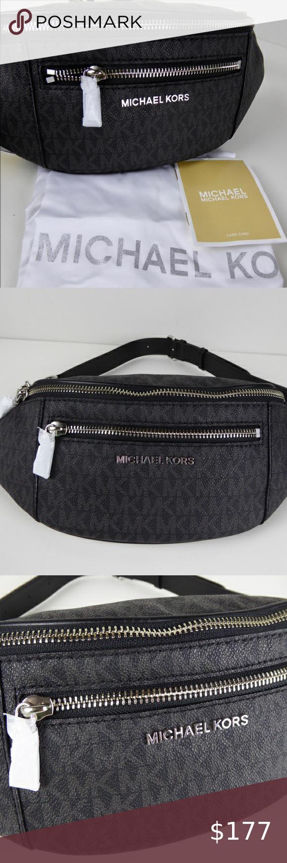 Michael Kors Mott Signature Zip Waistpack W Chain In 2020 Michael Kors Michael Kors Bag Canvas Leather