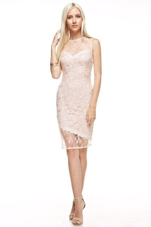 8f9feee5 Lace asymmetrical sheath bridesmaid dress. Mesh overlay on sweetheart  neckline. Perfect for bridesmaids, Wedding guest, Party, Date night. Back  Zipper ...