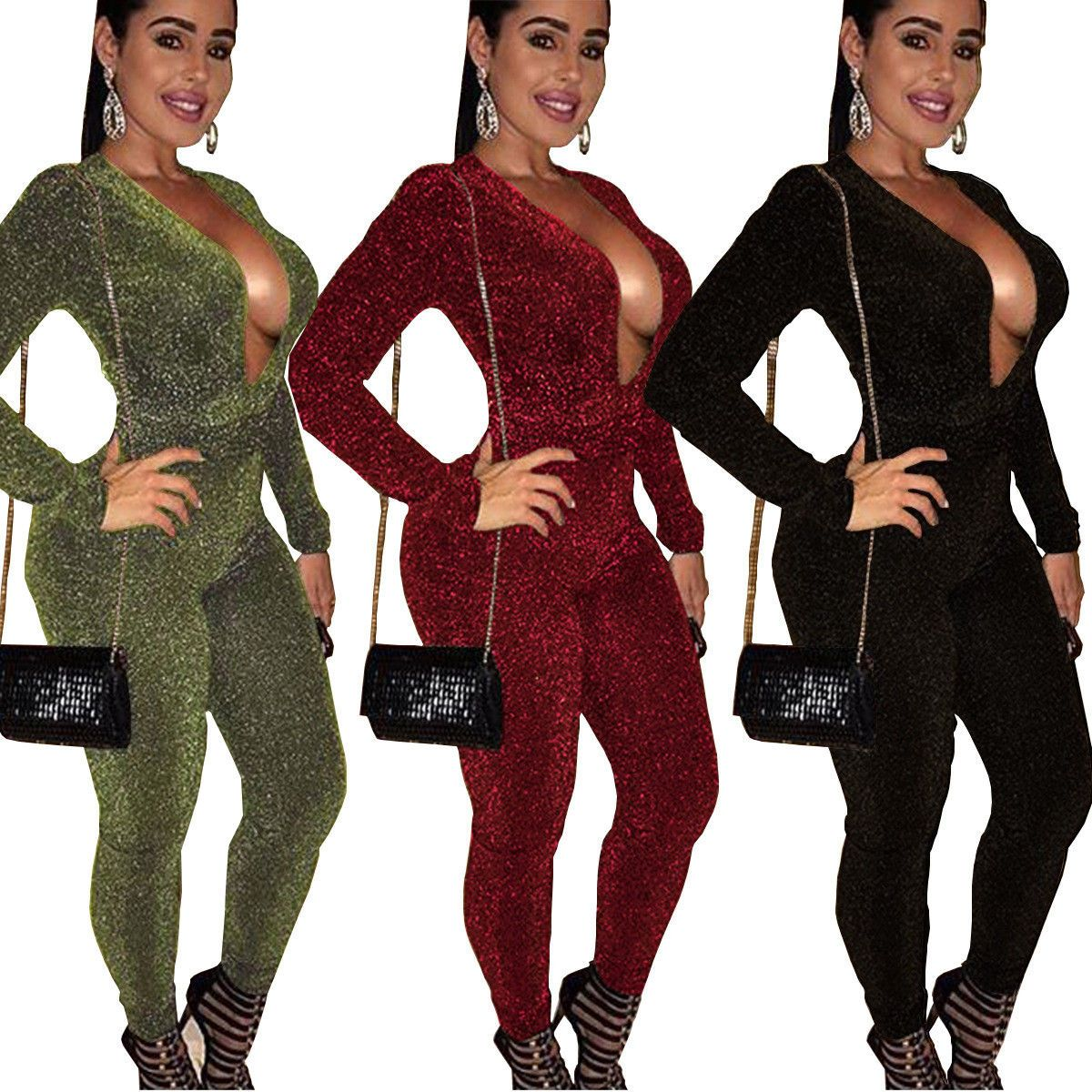 3bdf61d07773 Women Long Sleeves Shiny V Neck Casual Clubwear Party Bodycon Jumpsuit  Playsuit